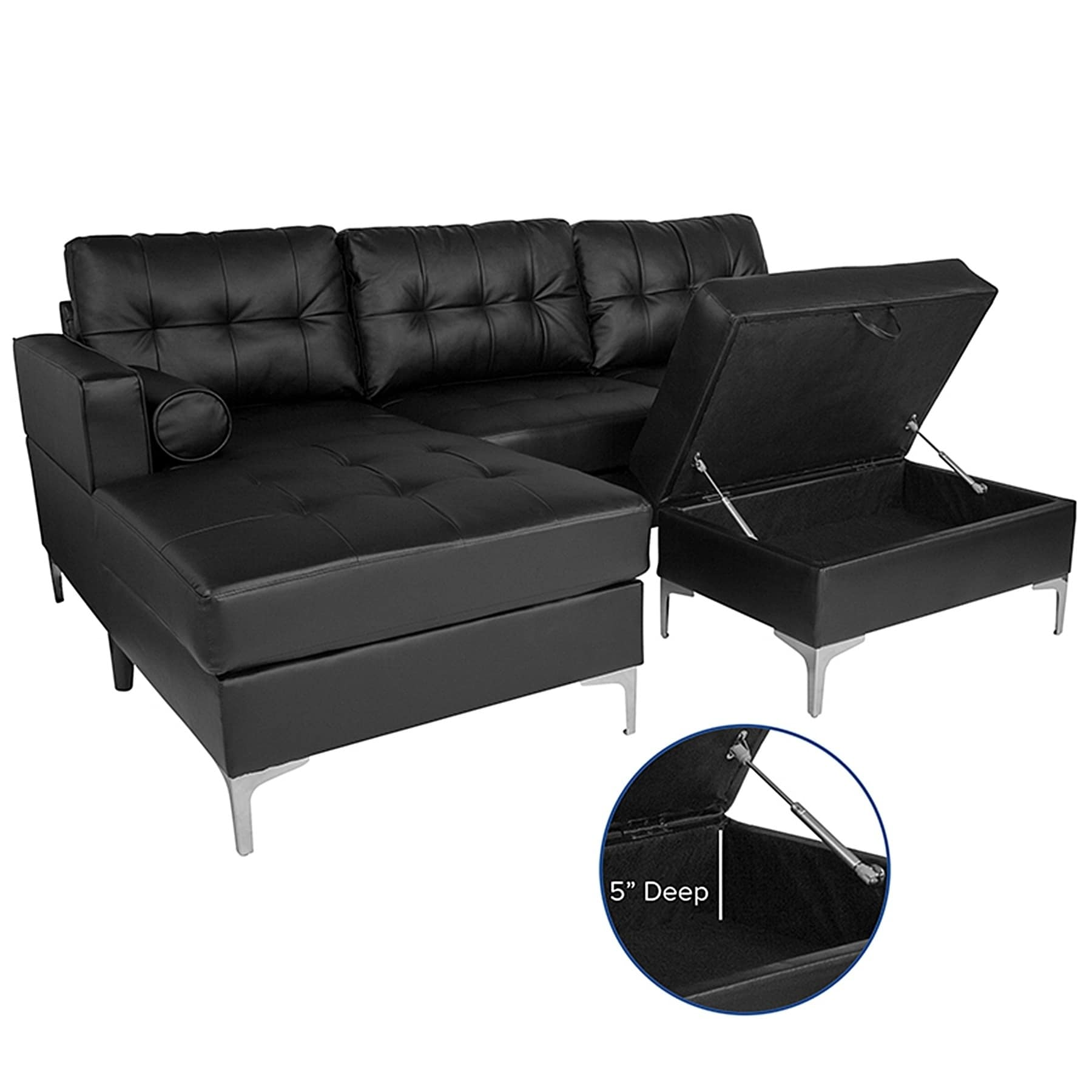 Bellmore 3-Piece Black Leather Sectional Sofa with Left Facing Chaise and  Storage Ottoman