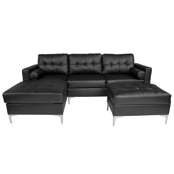 Shop Bellmore 3-Piece Black Leather Sectional Sofa with Left ...