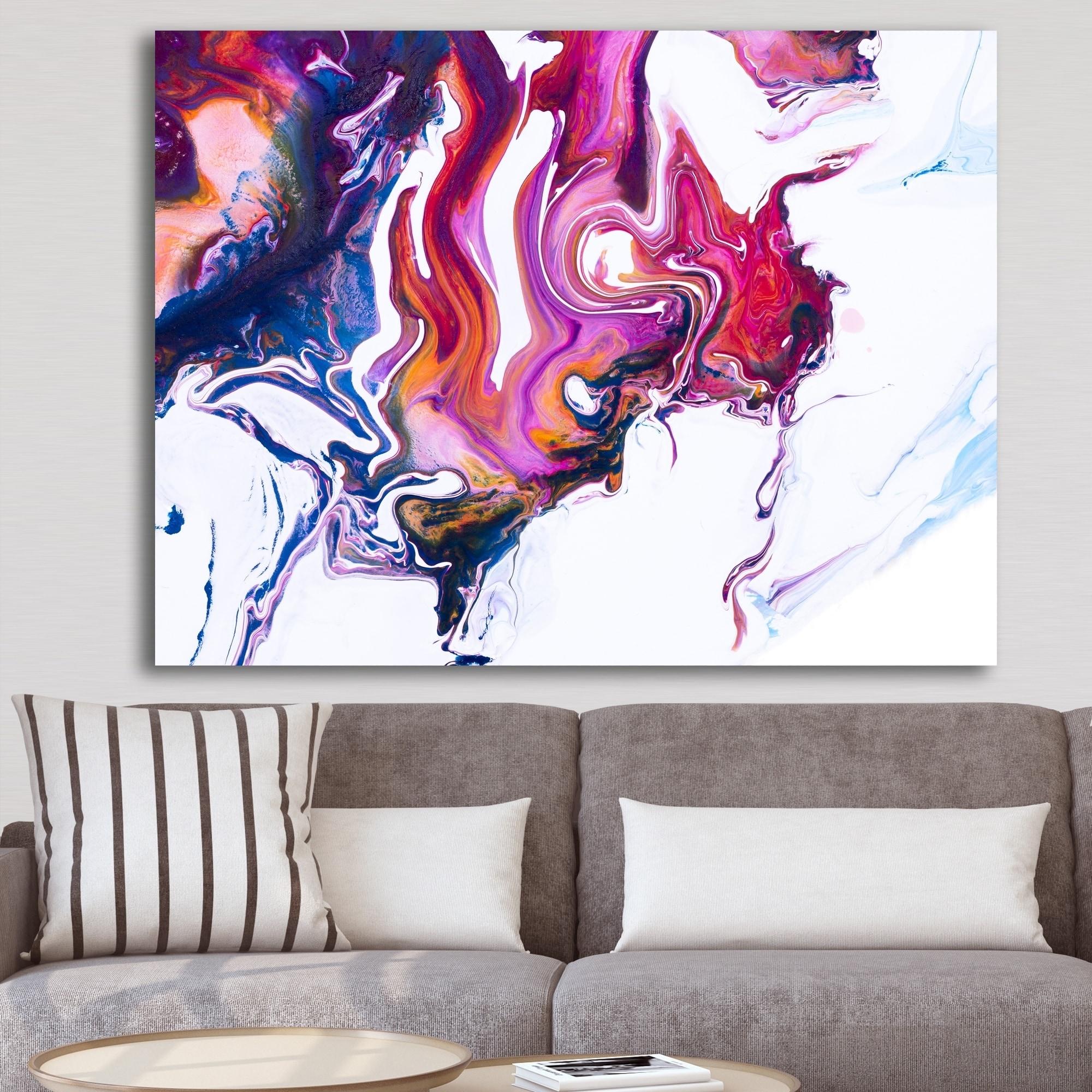 Designart Purple Pink And Blue Marble Composition Mid Century Modern Premium Canvas Wall Art Purple On Sale Overstock 26036192