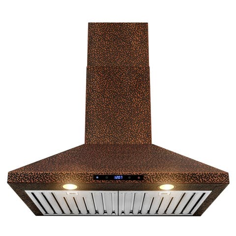 30 in. Wall Mount Range Hood Embossed Copper 4 Speed Touch Control Fan for Kitchen