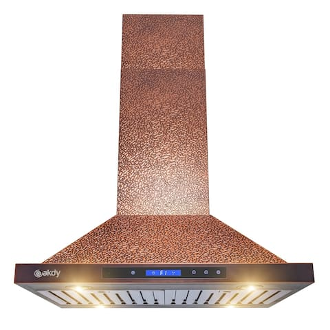 """30 in. Island Mount Range Hood Embossed Copper 4 Speed Touch Control - 7'10"""" x 11'2"""""""