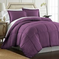 Spirit Linen Home Reversible Satin Stripe Down Alternative Comforter Set (3 Piece)