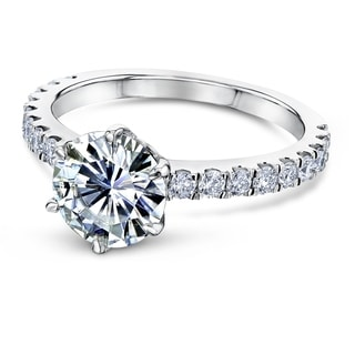 Annello By Kobelli 14k Gold 2 2 5ct Tw 6 Prong Forever One Moissanite And Lab Grown Diamond Band Engagement Ring DF VS