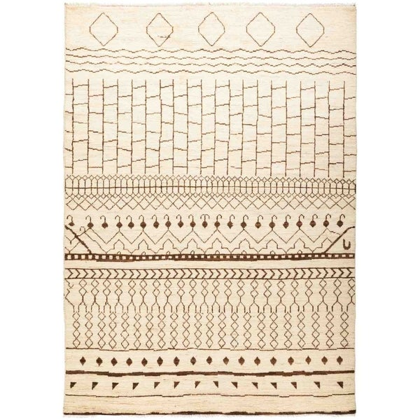 """Moroccan, Hand Knotted Area Rug - 6' 3"""" x 8' 10"""" - 6'3"""" x 8'10"""""""