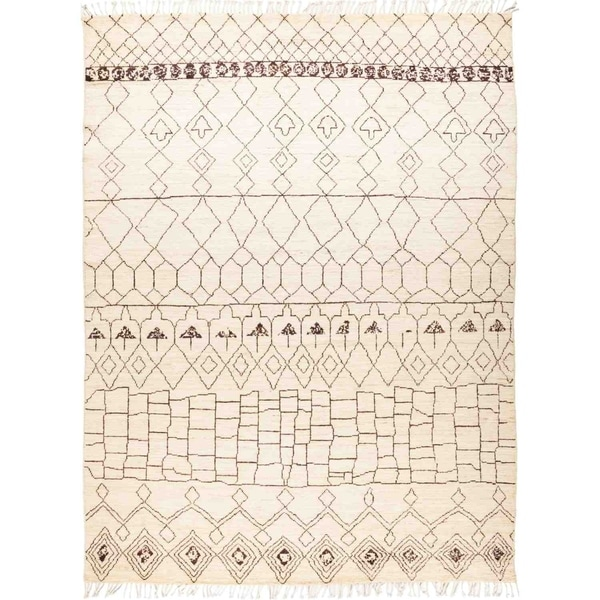 """Moroccan, Hand Knotted Area Rug - 8' 10"""" x 12' 0"""" - 8'10"""" x 12'/Surplus"""