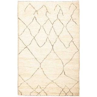 """Moroccan, Hand Knotted Area Rug - 3' 3"""" x 5' 0"""" - 3'3"""" x 5'"""