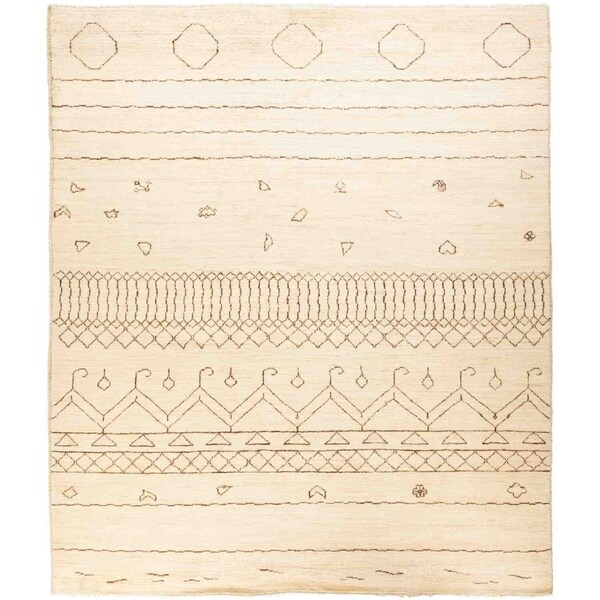 """Moroccan, Hand Knotted Area Rug - 8' 5"""" x 9' 9"""" - 8'5"""" x 9'9"""""""