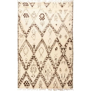 """Moroccan, Hand Knotted Area Rug - 5' 10"""" x 9' 3"""" - 5'10"""" x 9'3"""""""