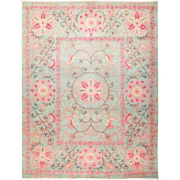 """Suzani, Hand Knotted Area Rug - 9' 1"""" x 11' 10"""" - 9'1"""" x 11'10"""""""