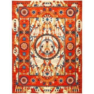 """Suzani, Hand Knotted Area Rug - 9' 3"""" x 12' 1"""" - 9'3"""" x 12'1"""""""