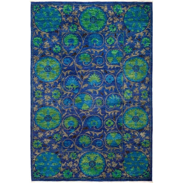"""Suzani, Hand Knotted Area Rug - 5' 2"""" x 7' 9"""" - 5'2"""" x 7'9"""""""