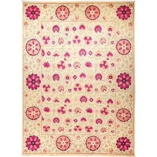 """Suzani, Hand Knotted Area Rug - 9' 3"""" x 12' 7"""" - 9'3"""" x 12'7"""""""
