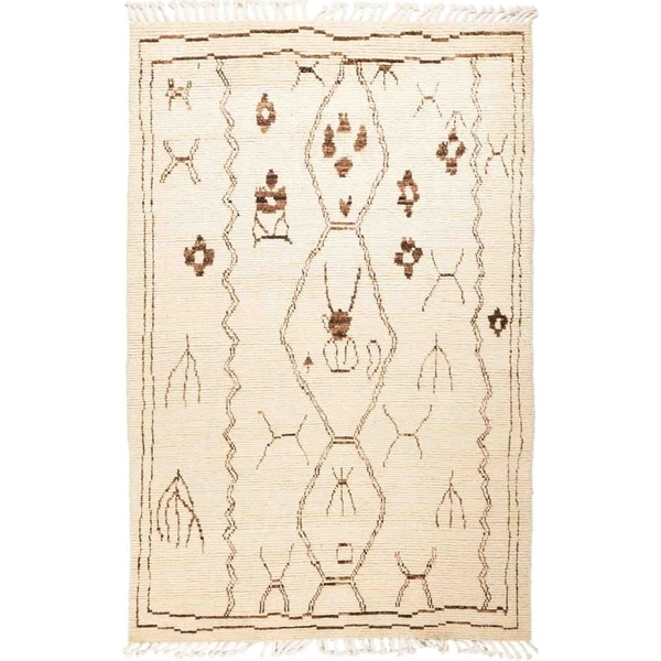 """Moroccan, Hand Knotted Area Rug - 5' 0"""" x 8' 1"""" - 5' x 8'1"""""""