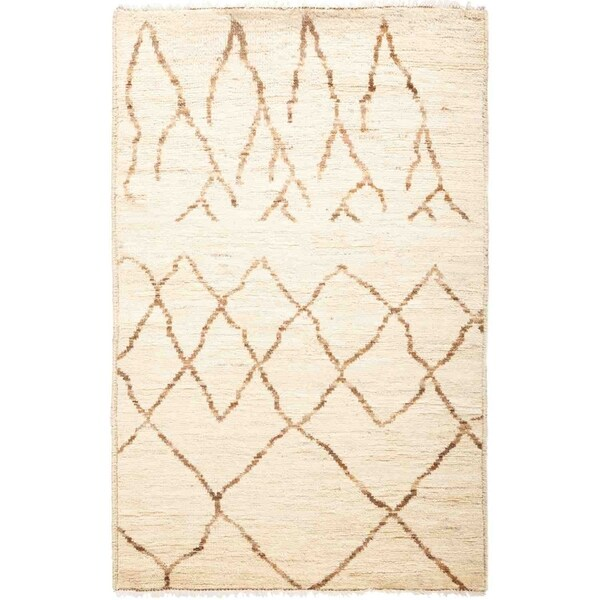 """Moroccan, Hand Knotted Area Rug - 3' 1"""" x 4' 10"""" - 3'1"""" x 4'10"""""""