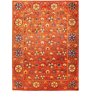 """Suzani, Hand Knotted Area Rug - 10' 4"""" x 13' 10"""" - 10'4"""" x 13'10"""""""