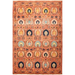 """Suzani, Hand Knotted Area Rug - 6' 2"""" x 9' 0"""" - 6'2"""" x 9'"""