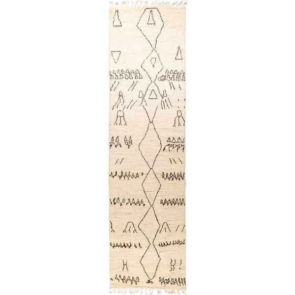 """Moroccan, Hand Knotted Area Rug - 3' 1"""" x 11' 9"""" - 3'1"""" x 11'9"""" Runner"""