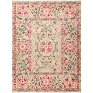 """Suzani, Hand Knotted Area Rug - 9' 1"""" x 12' 1"""" - 9'1"""" x 12'1"""""""