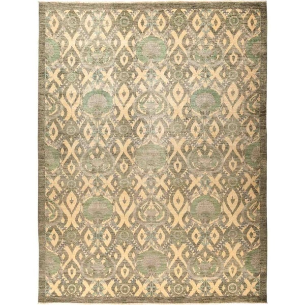 """Suzani, Hand Knotted Area Rug - 10' 4"""" x 13' 5"""" - 10'4"""" x 13'5"""""""