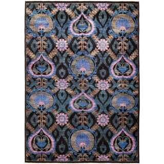 """Suzani, Hand Knotted Area Rug - 6' 3"""" x 9' 0"""" - 6'3"""" x 9'"""