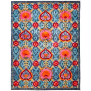 """Suzani, Hand Knotted Area Rug - 9' 3"""" x 11' 10"""" - 9'3"""" x 11'10"""""""