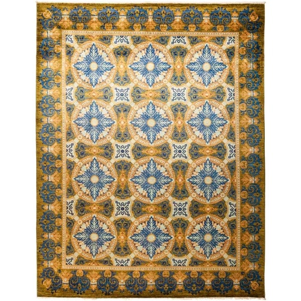 """Suzani, Hand Knotted Area Rug - 8' 1"""" x 10' 5"""" - 8'1"""" x 10'5"""""""