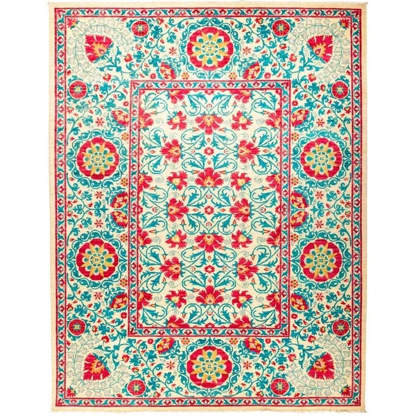 """Suzani, Hand Knotted Area Rug - 9' 1"""" x 11' 10"""" - 9'1"""" x 11'10""""/Surplus"""