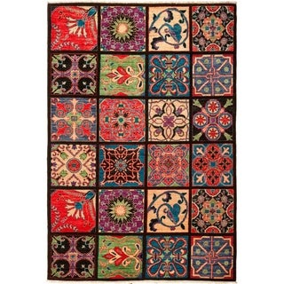 """Suzani, Hand Knotted Area Rug - 5' 3"""" x 7' 8"""" - 5'3"""" x 7'8"""""""