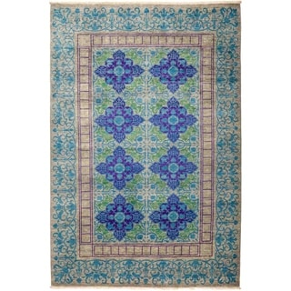 "Suzani, Hand Knotted Area Rug - 6' 2"" x 9' 0"" - 6'2"" x 9'"