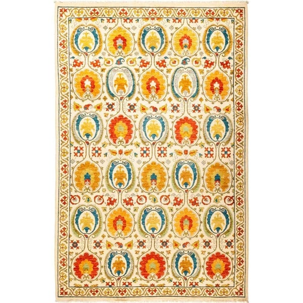 """Suzani, Hand Knotted Area Rug - 6' 0"""" x 9' 1"""" - 6' x 9'1"""""""