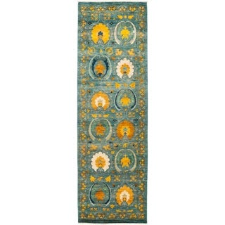 "Suzani, Hand Knotted Area Rug - 3' 1"" x 9' 10"" - 3'1"" x 9'10"" Runner"