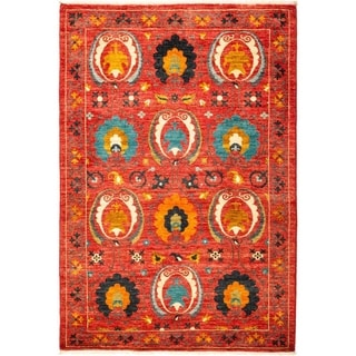 """Suzani, Hand Knotted Area Rug - 4' 2"""" x 6' 1"""" - 4'2"""" x 6'1"""""""