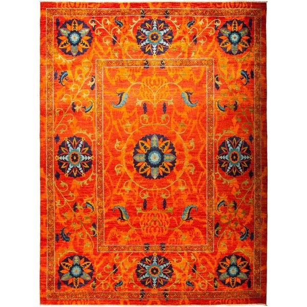 "Suzani, Hand Knotted Area Rug - 9' 3"" x 12' 2"" - 9'3"" x 12'2"""