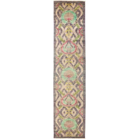 """Suzani, Hand Knotted Area Rug - 3' 0"""" x 13' 6"""" - 3' 0"""" x 13' 6"""""""