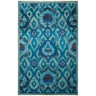 """Suzani, Hand Knotted Area Rug - 5' 2"""" x 8' 1"""" - 5'2"""" x 8'1"""""""