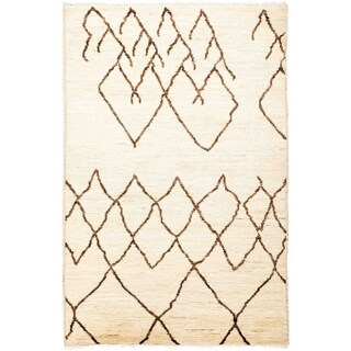 """Moroccan, Hand Knotted Area Rug - 4' 1"""" x 6' 1"""" - 4'1"""" x 6'1"""""""