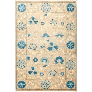 "Suzani, Hand Knotted Area Rug - 4' 3"" x 6' 2"" - 4'3"" x 6'2"""