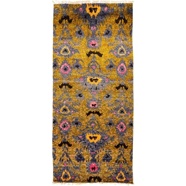 """Tullu, Hand Knotted Area Rug - 5' 3"""" x 11' 8"""" - 5'3"""" x 11'8"""" Runner"""
