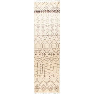 """Moroccan, Hand Knotted Area Rug - 3' 4"""" x 11' 10"""" - 3'4"""" x 11'10"""" Runner"""