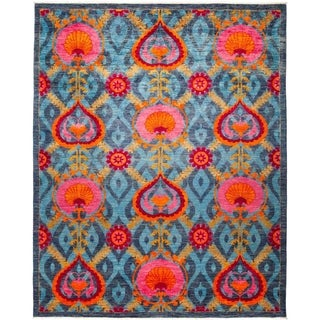 """Suzani, Hand Knotted Area Rug - 8' 2"""" x 10' 1"""" - 8'2"""" x 10'1"""""""