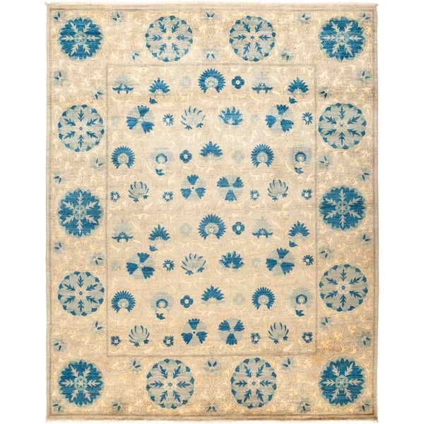 """Suzani, Hand Knotted Area Rug - 8' 3"""" x 10' 3"""" - 8'3"""" x 10'3"""""""