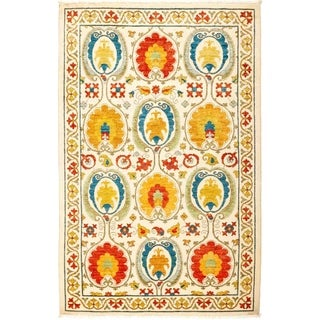"""Suzani, Hand Knotted Area Rug - 4' 1"""" x 6' 4"""" - 4'1"""" x 6'4"""""""