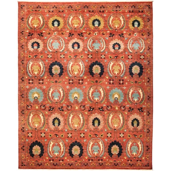 """Suzani, Hand Knotted Area Rug - 8' 2"""" x 10' 2"""" - 8'2"""" x 10'2"""""""