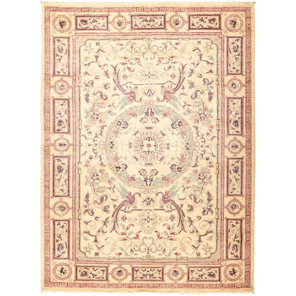 """Suzani, Hand Knotted Area Rug - 6' 3"""" x 8' 9"""" - 6'3"""" x 8'9"""""""