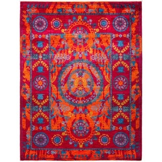"""Suzani, Hand Knotted Area Rug - 8' 2"""" x 10' 7"""" - 8'2"""" x 10'7"""""""