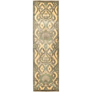 "Suzani, Hand Knotted Area Rug - 3' 2"" x 11' 4"" - 3'2"" x 11'4"" Runner"