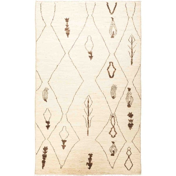"Moroccan, Hand Knotted Area Rug - 5' 0"" x 8' 1"" - 5' x 8'1"""