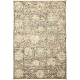 Contemporary Patterned & Floral One-of-a-Kind Hand-Knotted Area Rug - 4 x 6