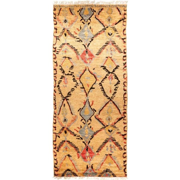 "Tullu, Hand Knotted Area Rug - 5' 1"" x 12' 1"" - 5'1"" x 12'1"" Runner"