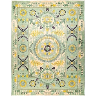 """Suzani, Hand Knotted Area Rug - 9' 2"""" x 11' 10"""" - 9'2"""" x 11'10"""""""